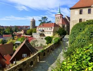 Bautzen Blick auf die Alte Wasserkunst und Michaelskirche