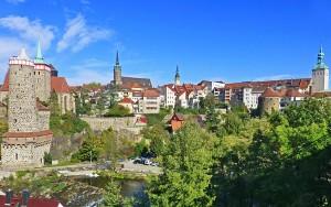 Bautzen Panoramablick von der Friedensbrücke auf die Altstadt