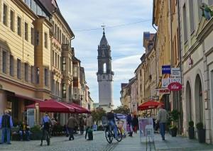 """Bautzen Altstadt  und der """"Schiefe Turm von Bautzen"""", der Reichenturm"""