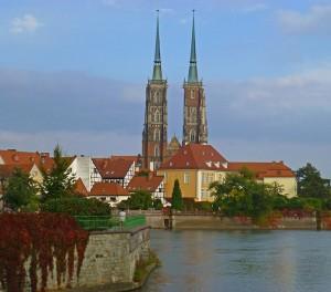 Breslau Die Johanneskathedrale auf der Dominsel der Oder