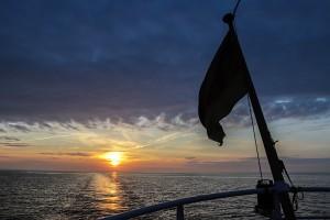 Sonnenuntergang auf der Rückfahrt mit der Baltica nach Warnemünde